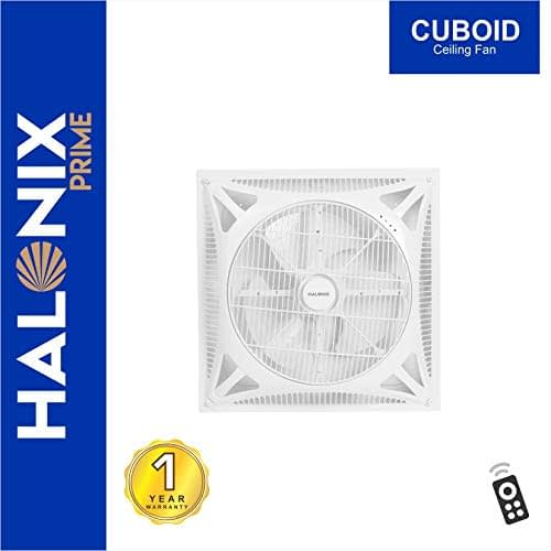Halonix Cuboid 400mm Ceiling Fan with Built-in LED Light and Remote (White)